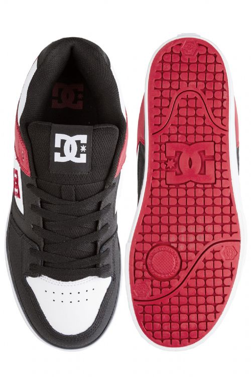 DC SHOES MENS TRAINERS.PURE WHITE BLACK LEATHER SKATE RUBBER SOLE SHOES 9S 60KAK